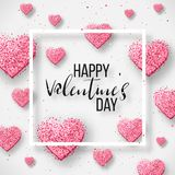 Happy valentines day and weeding design elements. Vector illustration. Pink Background With Ornaments, Hearts. Doodles and curls. Luxury Elegant Happy valentine Royalty Free Illustration