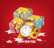 Luxury elegant Merry Christmas and happy new year gift poster. Confetti and christmas gold ball.  Royalty Free Stock Image