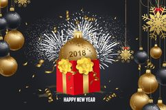 Luxury elegant Merry Christmas and happy new year gift poster. Confetti and christmas gold balls.  Royalty Free Stock Images