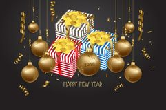 Luxury elegant Merry Christmas and happy new year gift poster. Confetti and christmas gold balls.  royalty free illustration