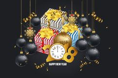 Luxury elegant Merry Christmas and happy new year gift poster. Confetti and christmas gold balls.  Royalty Free Stock Photos