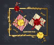 Luxury elegant Merry Christmas and happy new year gift poster. Confetti and christmas gold balls.  stock illustration