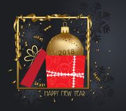 Luxury elegant merry christmas and happy new year 2018 poster. Confetti and christmas gold balls Stock Images