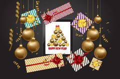 Luxury elegant Merry Christmas and happy new year poster. Confetti and christmas gold balls.  Stock Photos