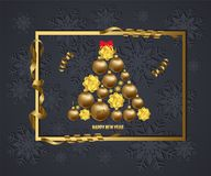 Luxury Elegant Merry Christmas and happy new year 2018 poster. Frame and gold christmas balls Stock Photos