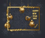 Luxury Elegant Merry Christmas and happy new year 2018 poster. Frame and gold christmas balls Stock Image