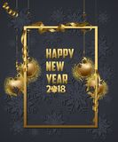 Luxury Elegant Merry Christmas and happy new year 2018 poster. Frame and gold christmas balls.  Stock Images