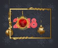 Luxury Elegant Merry Christmas and happy new year 2018 poster. Frame and red christmas balls Stock Photo