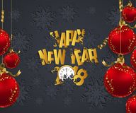 Luxury Elegant Merry Christmas and happy new year 2018 poster. Frame and red christmas balls Stock Photography