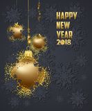 Luxury Elegant Merry Christmas and happy new year 2018 poster. Gold christmas balls Royalty Free Stock Photos