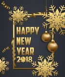 Luxury Elegant Merry Christmas and happy new year 2018 poster. Snowflake frame and gold christmas balls.  Stock Image