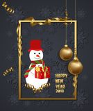 Luxury Elegant Merry Christmas and happy new year 2018 poster. Snowflake frame and gold christmas balls Royalty Free Stock Photo