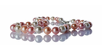Luxury elegant pearl necklace close-up Royalty Free Stock Photos