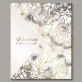 Luxury and elegant wedding invitation cards with marble texture and gold glitter background. Modern wedding invitation decorated. With peony flowers stock illustration