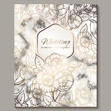 Luxury and elegant wedding invitation cards with marble texture and gold glitter background. Modern wedding invitation decorated. With peony flowers royalty free illustration