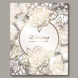 Luxury and elegant wedding invitation cards with marble texture and gold glitter background. Modern wedding invitation decorated. With peony flowers vector illustration