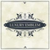 Luxury emblem swirl ornament typographic design. Vector illustration Stock Image