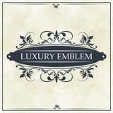 Luxury emblem swirl ornament typographic design. Vector illustration Royalty Free Stock Photo