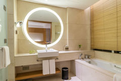 Luxury ensuite 5 star bathroom in bedroom Royalty Free Stock Photo