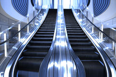 Luxury escalator. Going up in a modern Building Stock Images