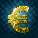 Luxury Euro. Golden shinny Euro symbol, over halftone pattern. CMYK Ai10  illustration Royalty Free Stock Photography
