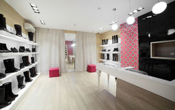Luxury european shoes store Stock Image