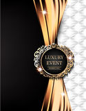 Luxury event elegant card with gold fabric, leather background, vintage frame. Stock Photography