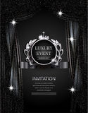 Luxury event elegant silver and black background with sparkling theater curtains. Vector illustration stock illustration