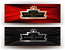 LUXURY EVENT INVITATION BANNERS WITH RETRO FRAME, CROWN and FABRIC BACKGROUND. VECTOR ILLUSTRATION Stock Photography