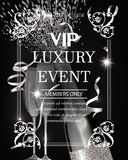 Luxury event invitation shiny banner WITH silver  TEXTURED SERPENTINE, GLASSES AND BOTTLE OF CHAMPAGNE. VECTOR ILLUSTRATION Royalty Free Stock Photo