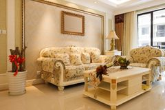 The luxury expensive livingroom interior Stock Photos