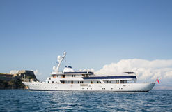 Luxury and expensive motor yacht in the sea or blue ocean. Stock Photo