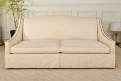 Luxury fabric sofa in living room stock photography