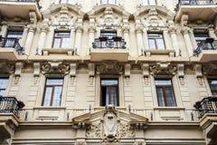BAKU, AZERBAIJAN - JULY 8, 2016: Hotel luxury resort in Baku. Hotel facade outside images. Hotel accommodation industry concept. royalty free stock photography