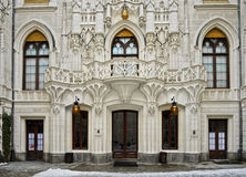 Luxury Fairy-tale Residence Castle Landmark Bohemia. A fairy-tale residence. Beautifully decorated facade of the inner courtyard of the castle Hluboka nad stock images