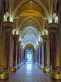 Luxury Fairytale Palace Interior. Fairytale corridor, marble columns and ornate arches. Luxury Monserrate Palace interior in Sintra. Lisbon Portugal Stock Images