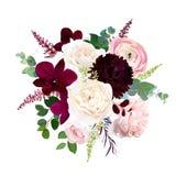 Luxury fall flowers vector bouquet. Dark orchid, garden rose, burgundy red dahlia, ranunculus, astilbe, agonis, seeded eucalyptus and greenery. Autumn wedding vector illustration