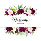 Luxury fall flowers vector design horizontal banner frame. Dark orchid, pink camellia, yellow rose, burgundy red astilbe, green hydrangea, seeded eucalyptus royalty free illustration