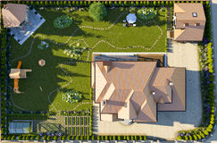 Luxury family house with landscaping. On the backyard, double garage, sauna, barbecue gazebo, large green lawn, playground for children. Top view. 3d rendering vector illustration