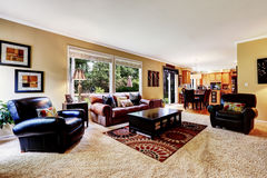 Luxury family room with comfortable leather couch Royalty Free Stock Photos