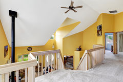 Luxury farm house interior with hight vaulted ceiling. View from. Loft overlooking family room stock images