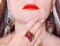 Luxury fashion make-up manicure jewelry ring and earrings Royalty Free Stock Images