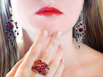 Luxury fashion make-up manicure jewelry ring and earrings Royalty Free Stock Photos