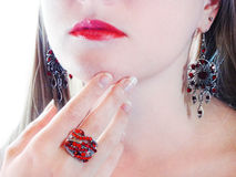 Luxury fashion make-up manicure jewelry ring and earrings Royalty Free Stock Image