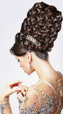 Luxury. Fashion Model with Trendy Updo - Braided T Royalty Free Stock Images