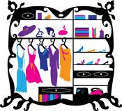 Luxury fashion wardrobe isolated vector illustration. Female clothes and shoes shopping mall interior silhouette Royalty Free Stock Images