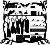 Luxury fashion wardrobe isolated vector illustration. Female clothes and shoes shopping mall interior silhouette Stock Images