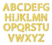 Luxury festive Golden glitter sparkling alphabet letters. Ideal for sale, shop, present, gift, header, wedding, holiday, voucher, sparkle design etc Royalty Free Stock Photo