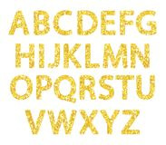 Luxury festive Golden glitter sparkling alphabet letters. Ideal for sale, shop, present, gift, header, wedding, holiday, voucher, sparkle design etc Stock Photography