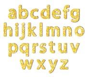 Luxury festive Golden glitter sparkling alphabet letters. Ideal for sale, shop, present, gift, header, wedding, holiday, voucher, sparkle design etc Stock Photo
